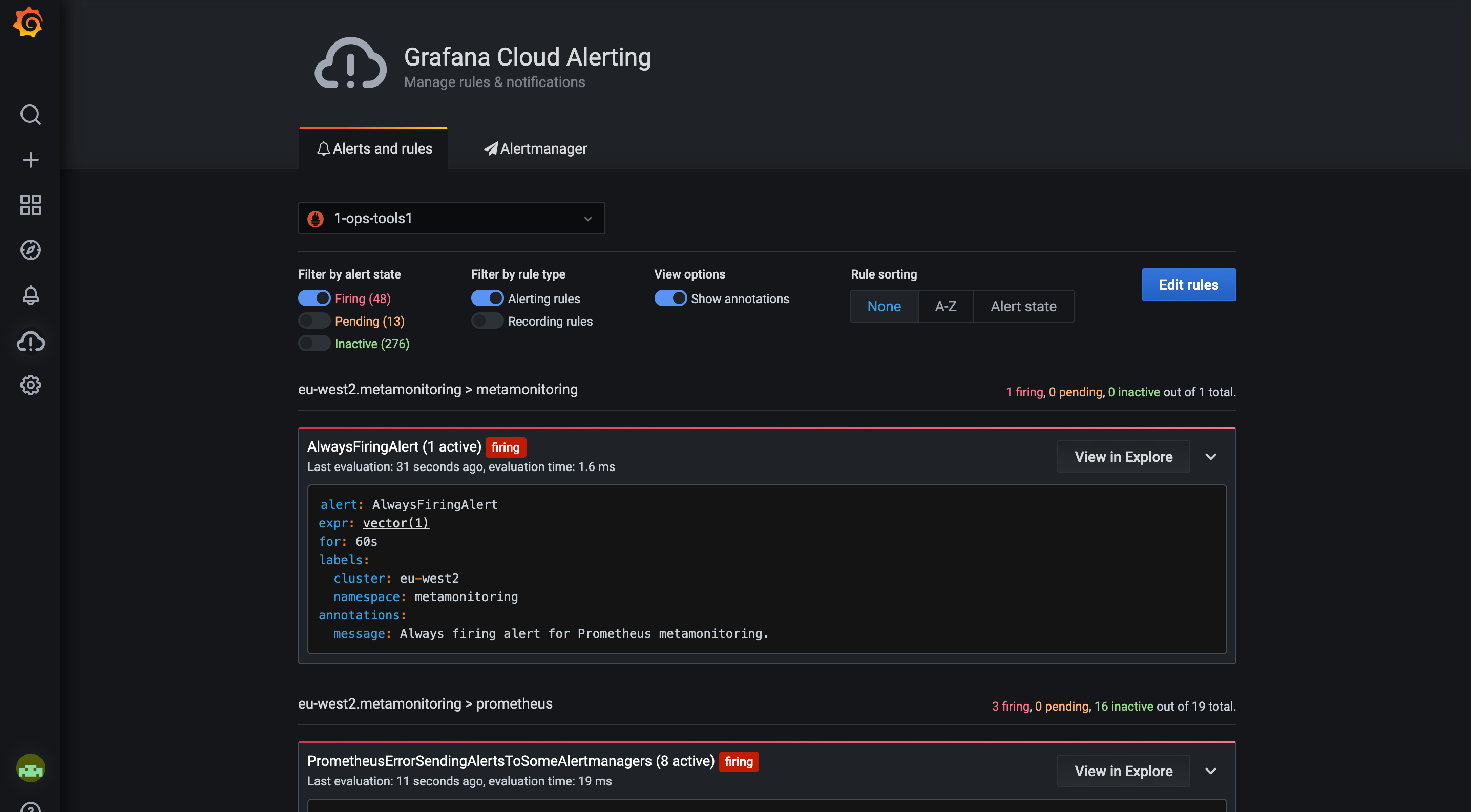 Simple alert configuration in Grafana Cloud.