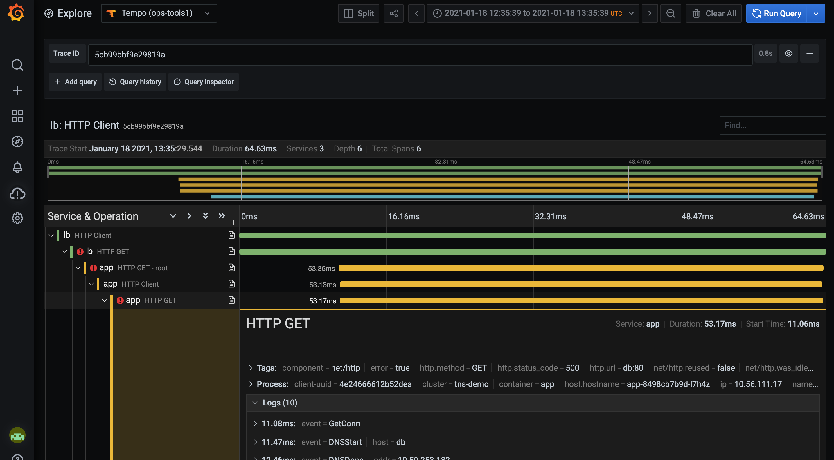 Explore traces right in Grafana.