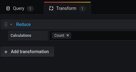 Demonstration of a simple count transformation in Grafana 7.0+
