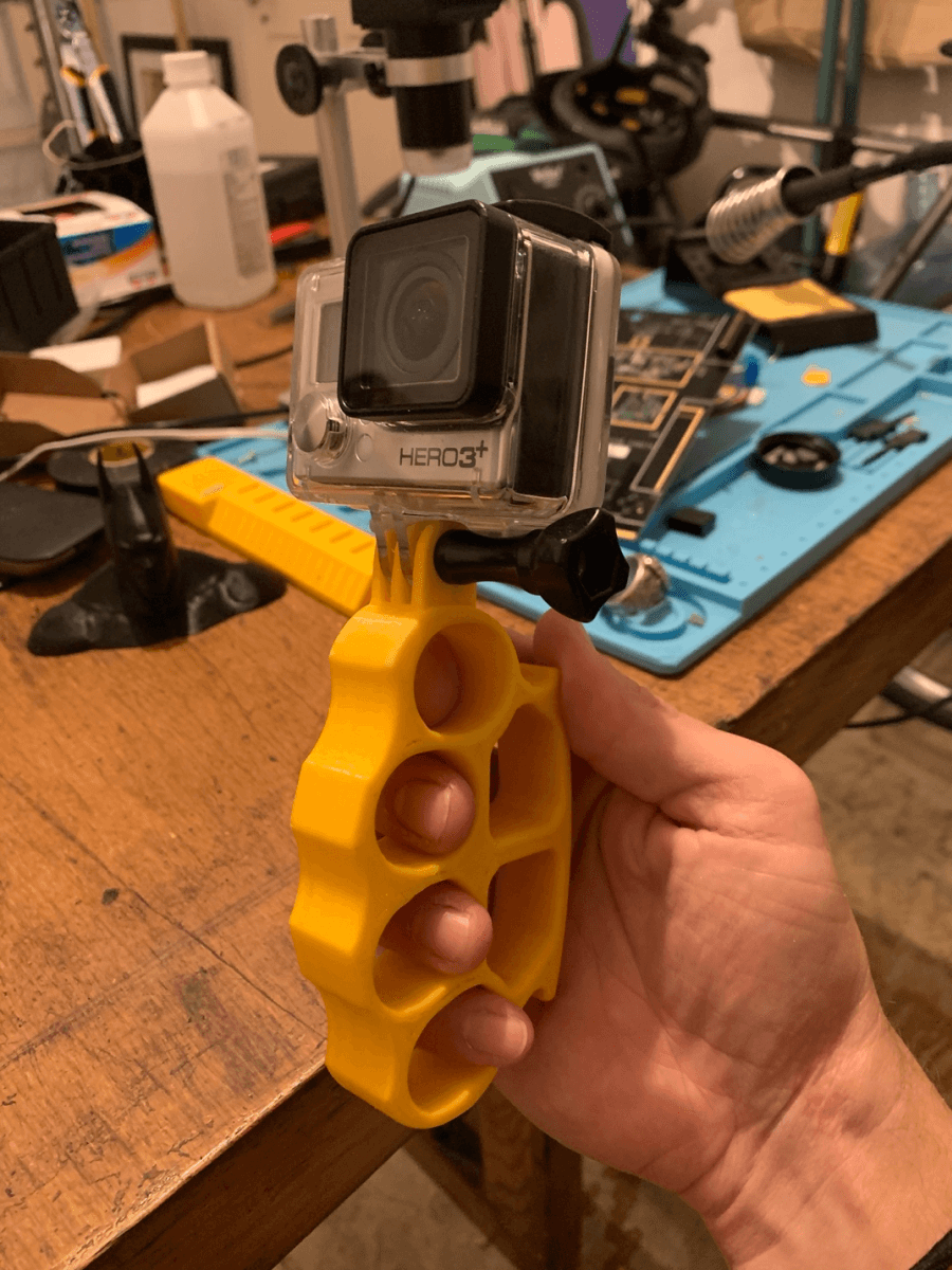 Yellow knuckles GoPro handle, printed in PETG for my dad for Father's Day