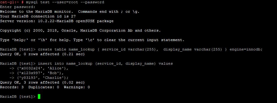 Data in MariaDB table