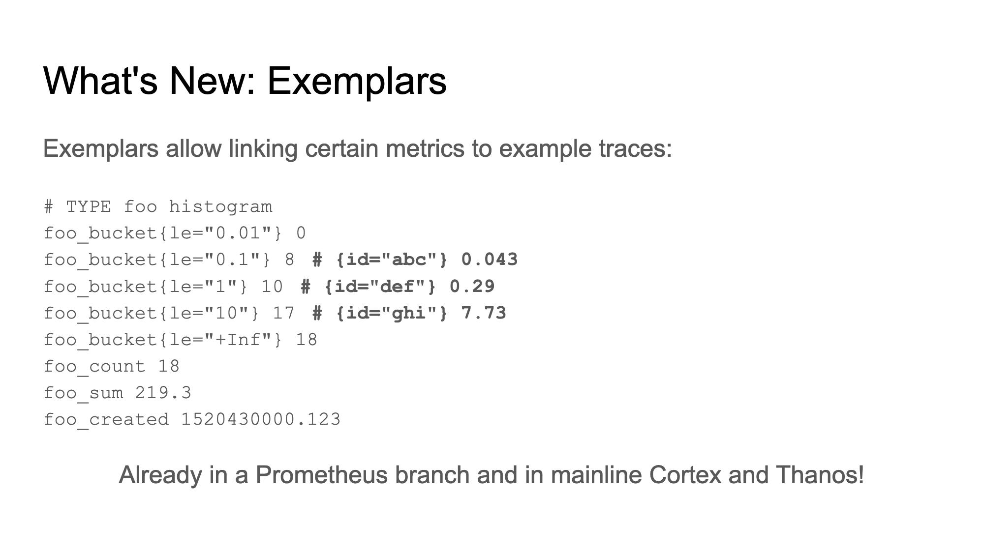Exemplars in OpenMetrics