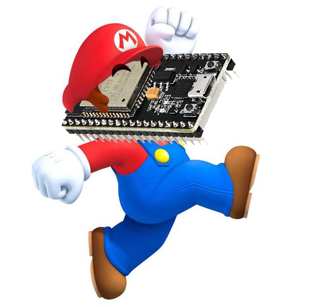 Nintendo's Mario with an ESP32 microcontroller as face