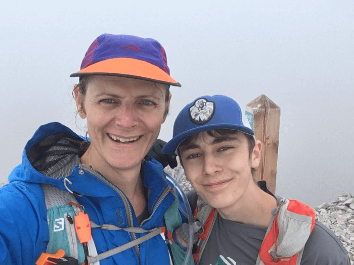 Stephanie and son summit selfie