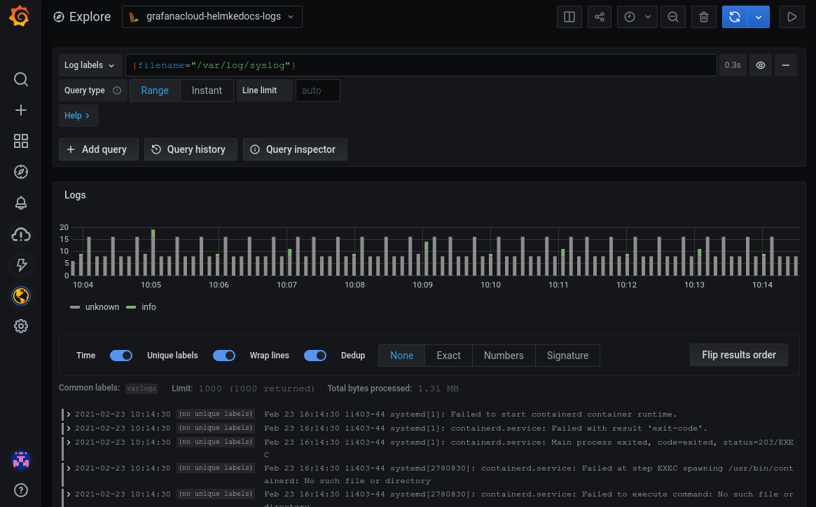 The Grafana Explore page