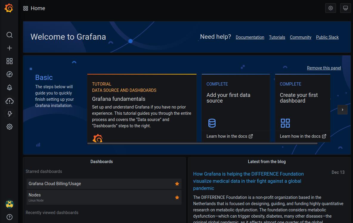 Grafana Home page