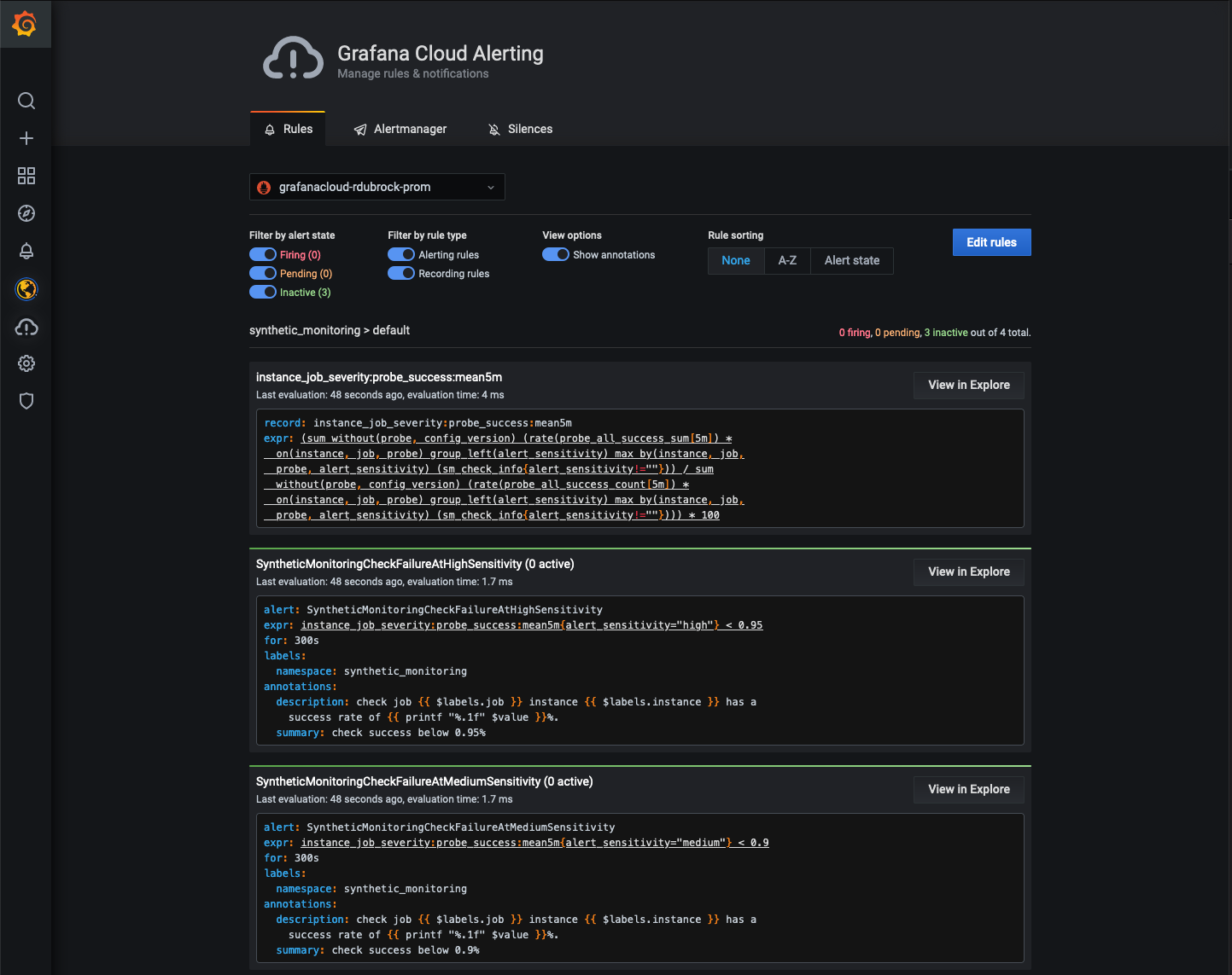 Synthetic Monitoring alerts in Grafana Cloud alerts page