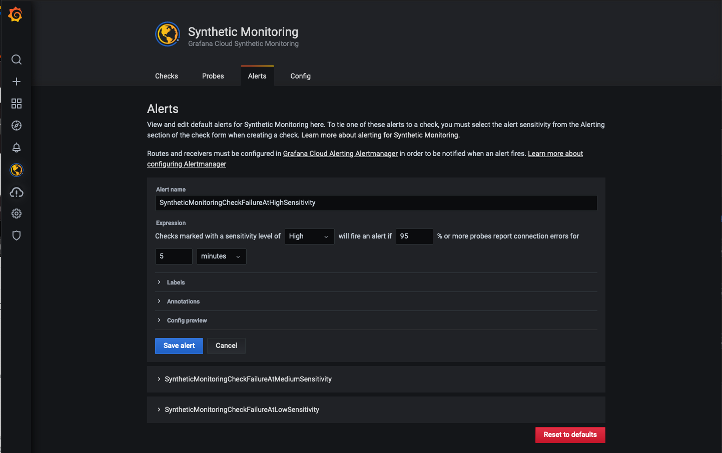 Synthetic Monitoring alerts