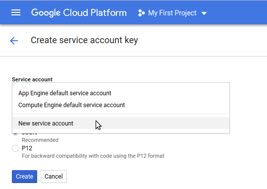 Create service account key