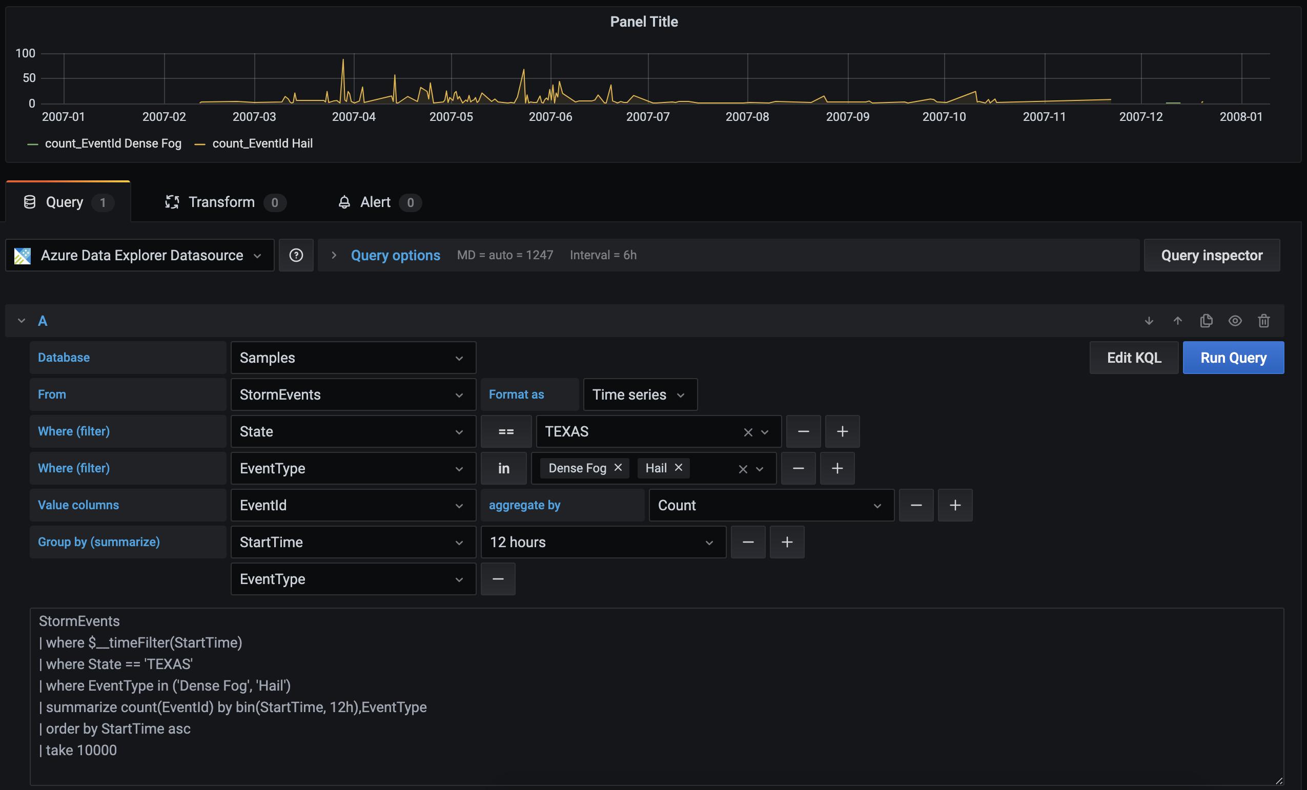 ADX visual query builder