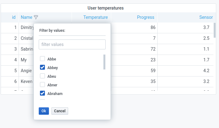 Table column filters