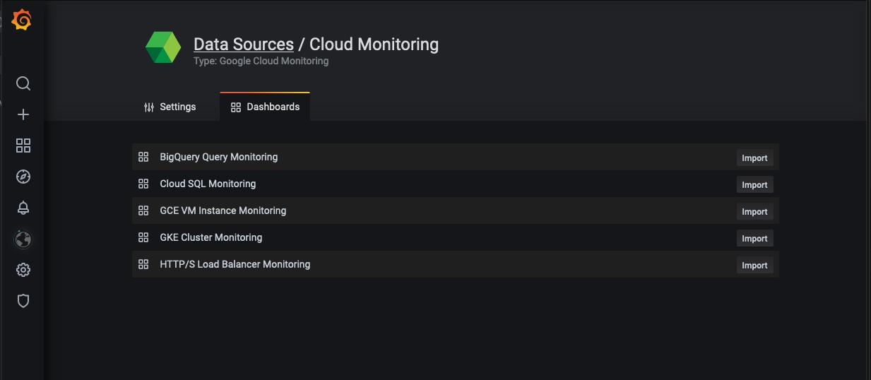 Cloud Monitoring dashboard import