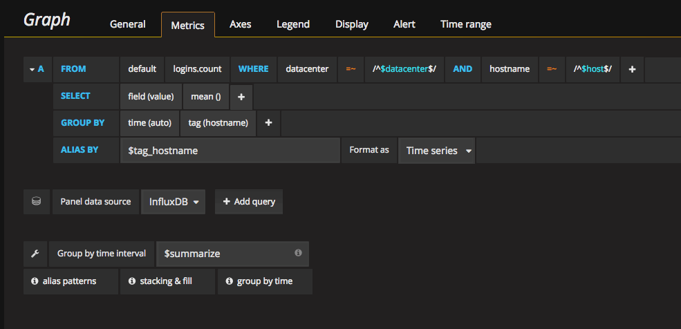 InfluxDB query editor